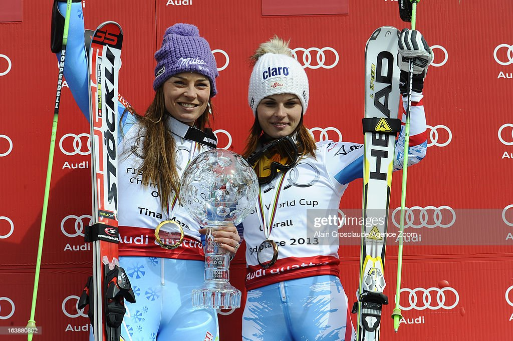 Tina Maze of Slovenia wins the Overall World Cup, Anna Fenninger of Austria takes 2nd place in the overall World Cup during the Audi FIS Alpine Ski World Cup Finals March 17, 2013 in Lenzerheide, Switzerland.