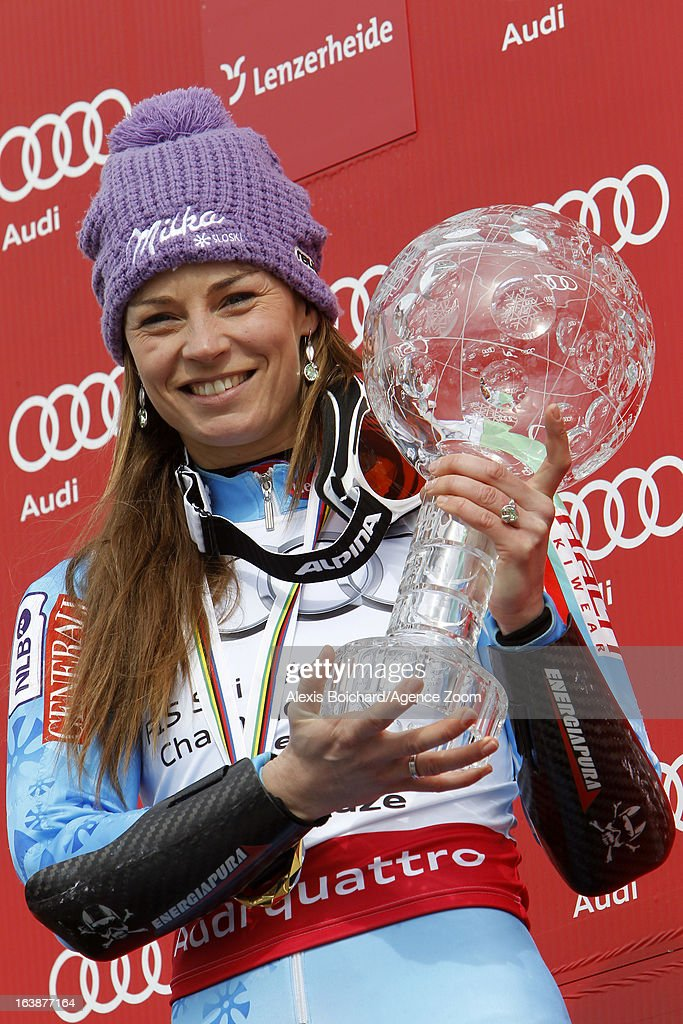 Tina Maze of Slovenia wins the Overall World Cup during the Audi FIS Alpine Ski World Cup Finals March 17, 2013 in Lenzerheide, Switzerland.