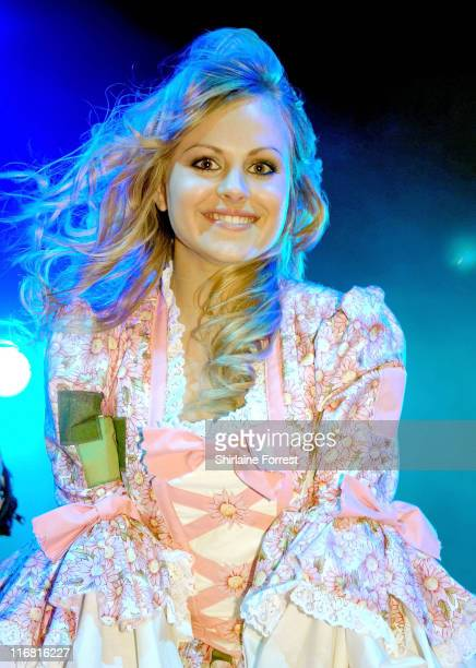 Tina O'Brien performs at Manchester Christmas lights illumination on November 8 2007 in Manchester England