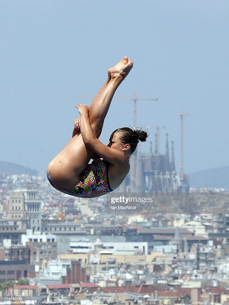 Tina Punzel of Germany competes in the preliminary round of The Women's 1m Springboard at The Piscina Municipal De Montjuic on day two of the 15th FINA World Championships at Moll de la Fusta on July 21, 2013 in Barcelona, Spain.