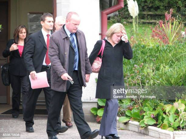 Tina Roszkowska leaving the inquest this morning at All Hallows Church Miskin near Llantrisant south Wales into the death of her sixmonthold baby...
