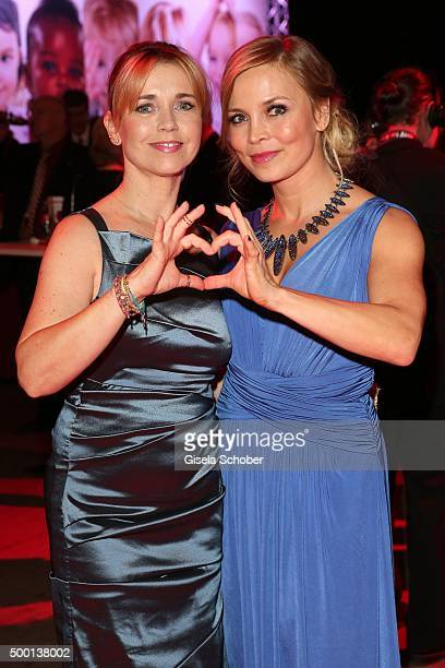 Tina Ruland and Regina Halmich attend the Ein Herz Fuer Kinder Gala 2015 reception at Tempelhof Airport on December 5 2015 in Berlin Germany