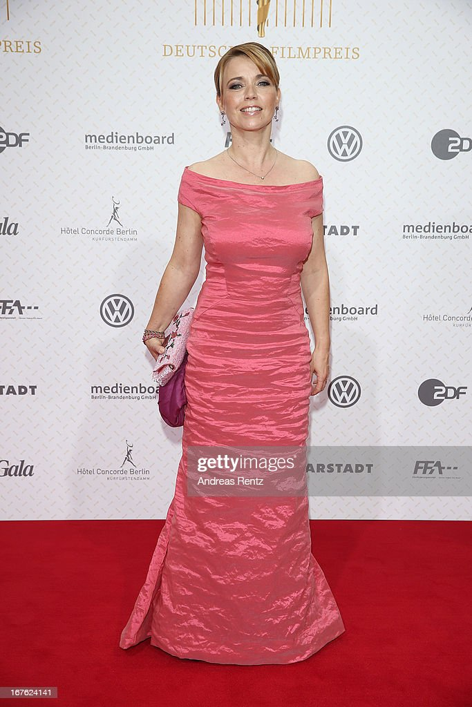Tina Ruland arrives for the Lola - German Film Award 2013 at Friedrichstadt-Palast on April 26, 2013 in Berlin, Germany.