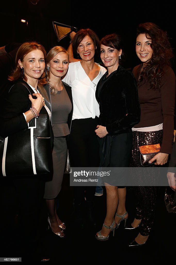 Tina Ruland Regina Halmich designer Eva Lutz Anna Maria Kaufmann and Alexandra Polzin attend the Minx by Eva Lutz show during MercedesBenz Fashion...