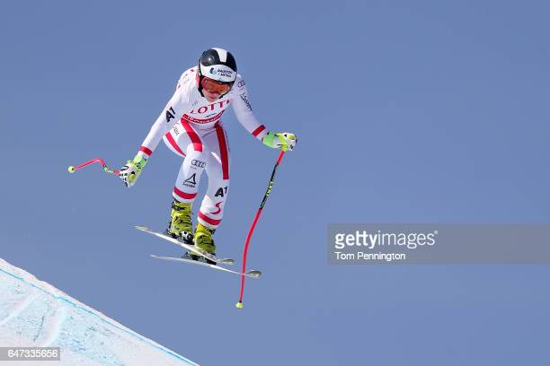 Tina Schmidhofer of Austria skis the course during the Audi FIS Ski World Cup 2017 Ladies' Downhill Training at the Jeongseon Alpine Centre on March...