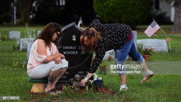 Tina Snyder and Courtney Winder visit the grave of Thomas 'Lee' Winder who died of an overdose in 2016 Thomas 'Lee' Winder was the second family...