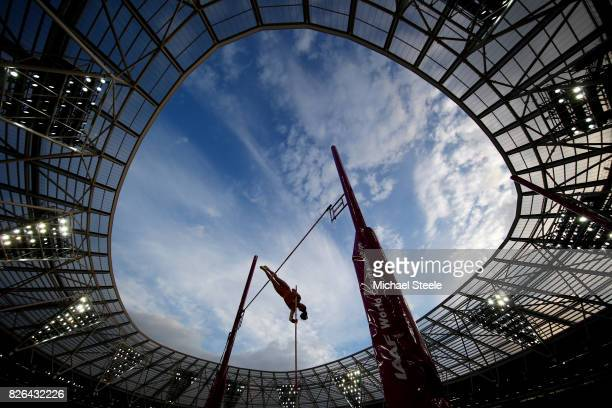 Tina Sutej of Slovenia competes in the Women's Pole Vault qualification during day one of the 16th IAAF World Athletics Championships London 2017 at...
