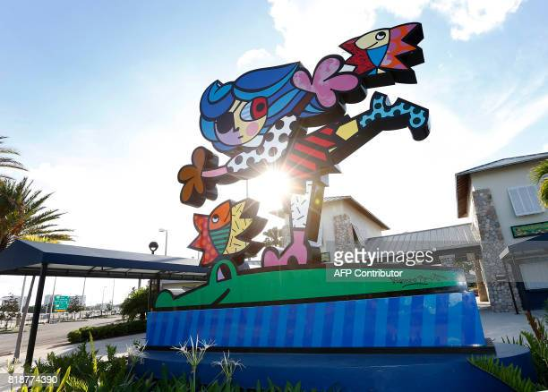 'Tina the Pirate Girl' sculpture by Brazilian by Brazilian artist Romero Britto greets patrons at the entrance of Grapeland water park in Miami...