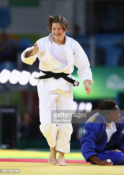 Tina Trstenjak of Slovenia celebrates victory over Clarisse Agbegnenou of France in the Women's 63kg gold medal bout on Day 4 of the Rio 2016 Olympic...