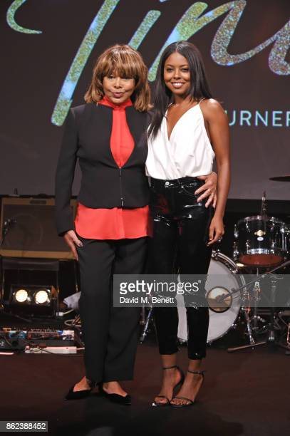 Tina Turner actress Adrienne Warren pose at a photocall for 'Tina The Tina Turner Musical' at The Hospital Club on October 17 2017 in London England