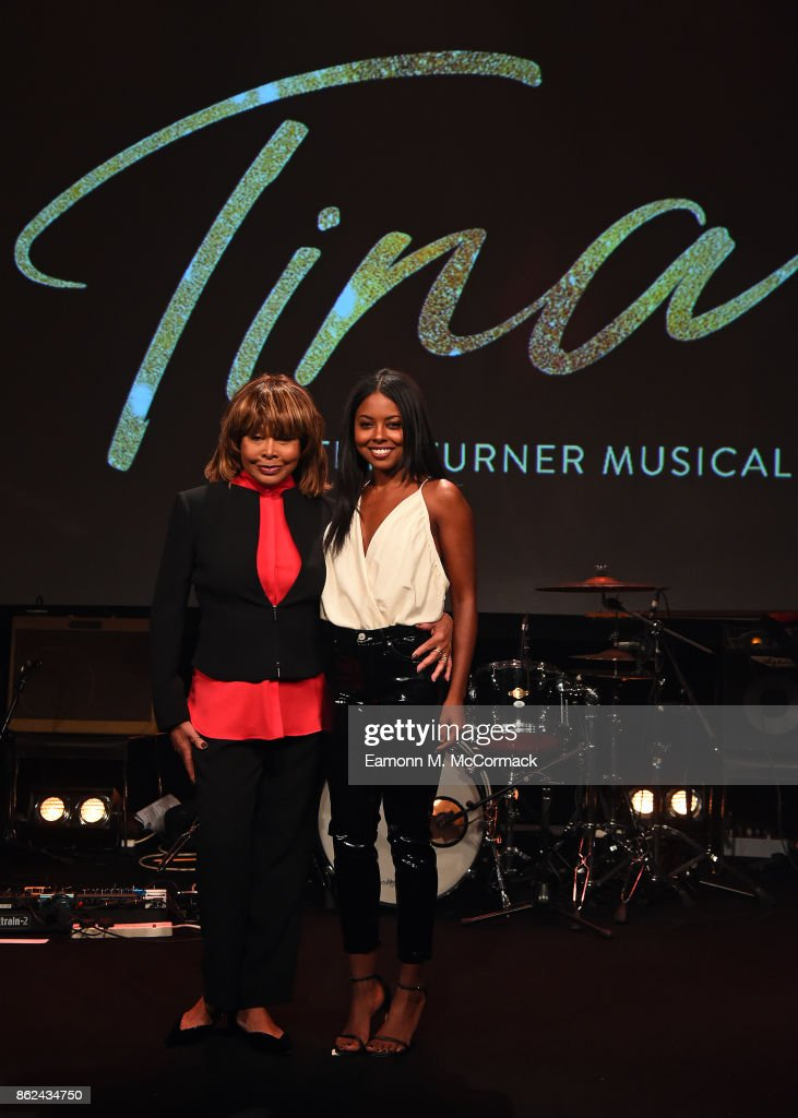 Tina Turner and Adrienne Warren during the 'TINA: The Tina Turner Musical' photocall at Aldwych Theatre on October 17, 2017 in London, England.