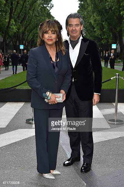 Tina Turner and Erwin Bach attend the Giorgio Armani 40th Anniversary Silos Opening And Cocktail Reception on April 30 2015 in Milan Italy