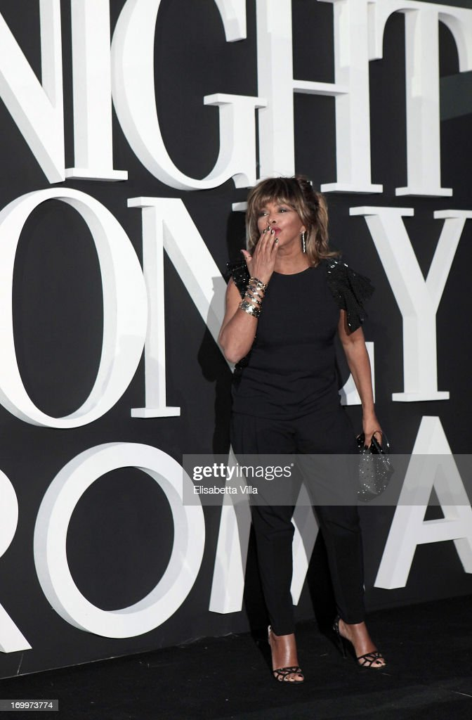 <a gi-track='captionPersonalityLinkClicked' href=/galleries/search?phrase=Tina+Turner&family=editorial&specificpeople=206221 ng-click='$event.stopPropagation()'>Tina Turner</a> attends 'One Night Only' Roma hosted by Giorgio Armani at Palazzo Civilta Italiana on June 5, 2013 in Rome, Italy.