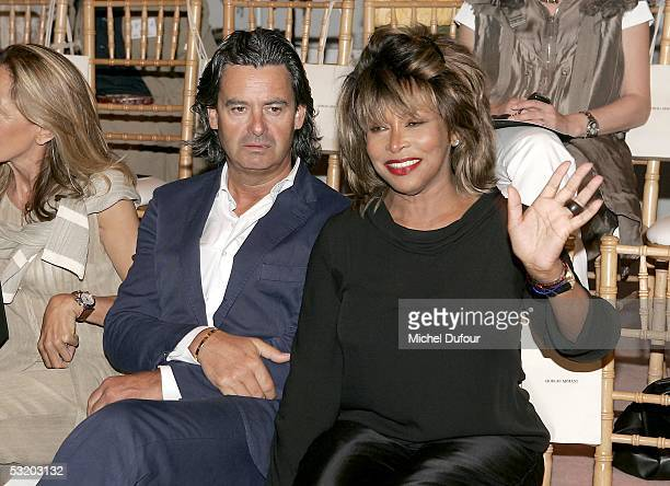 Tina Turner attends the Georgio Armani High Fashion Show on July 6 2005 in Paris France