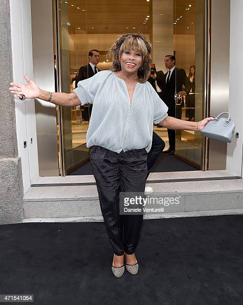 Tina Turner attends the Giorgio Armani 40th Anniversary Boutique Cocktail Reception on April 29 2015 in Milan Italy