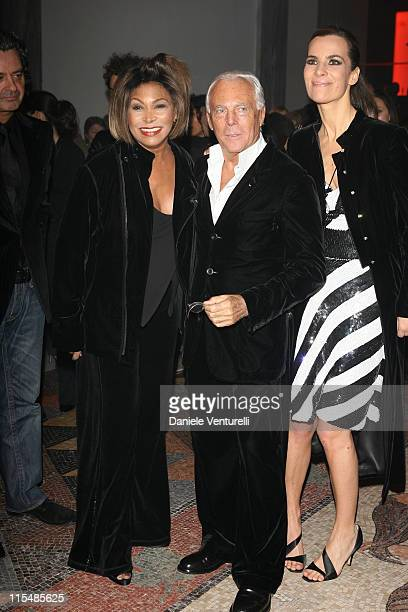 Tina Turner Giorgio Armani and Roberta Armani during Milan Fashion Week Fall/Winter 2007 Armani After Party in Milan Italy
