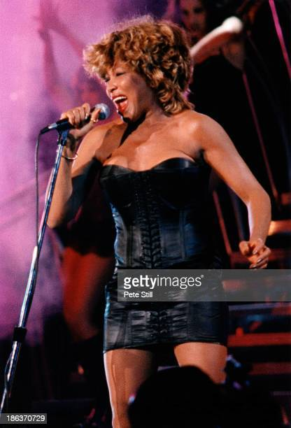 Tina Turner performs on stage at The National Exhibition Centre during her 'Wildest Dreams' tour on December 12th 1996 in Birmingham England