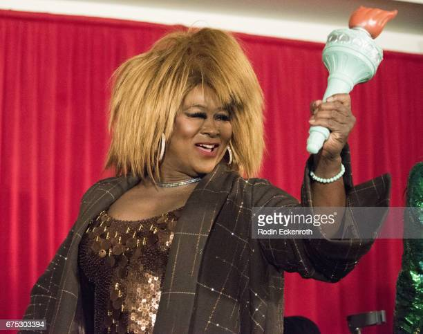 Tina Turner tribute artist Hot Chocolate waves torch at the 3rd annual RuPaul's DragCon at Los Angeles Convention Center on April 30 2017 in Los...