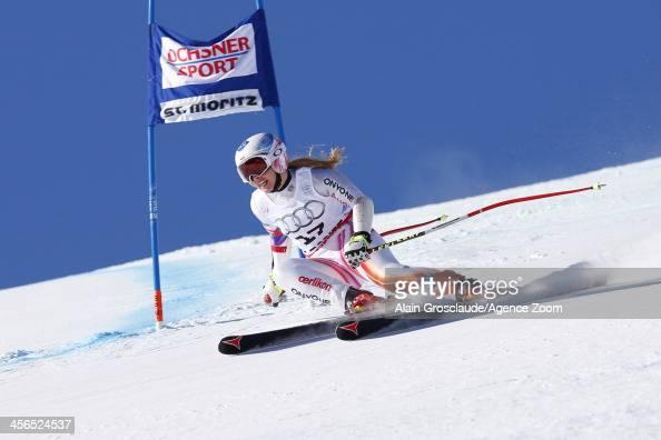 Tina Weirather of Lichteinstein takes 1st place during the Audi FIS Alpine Ski World Cup Women's SuperG on December 14 2013 in St Moritz Switzerland