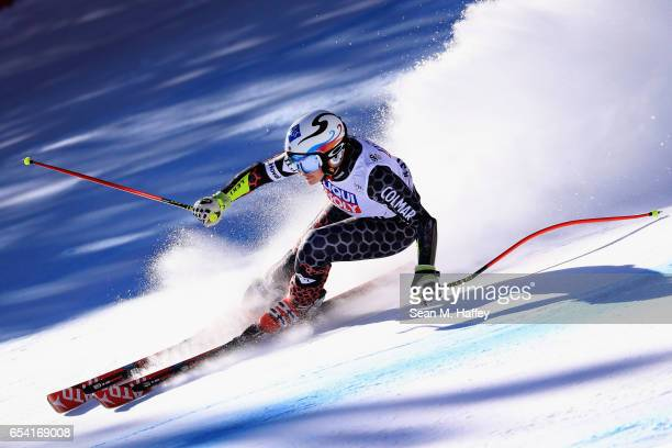 Tina Weirather of Lichtenstein competes in the ladies' SuperG for the 2017 Audi FIS Ski World Cup Final at Aspen Mountain on March 16 2017 in Aspen...