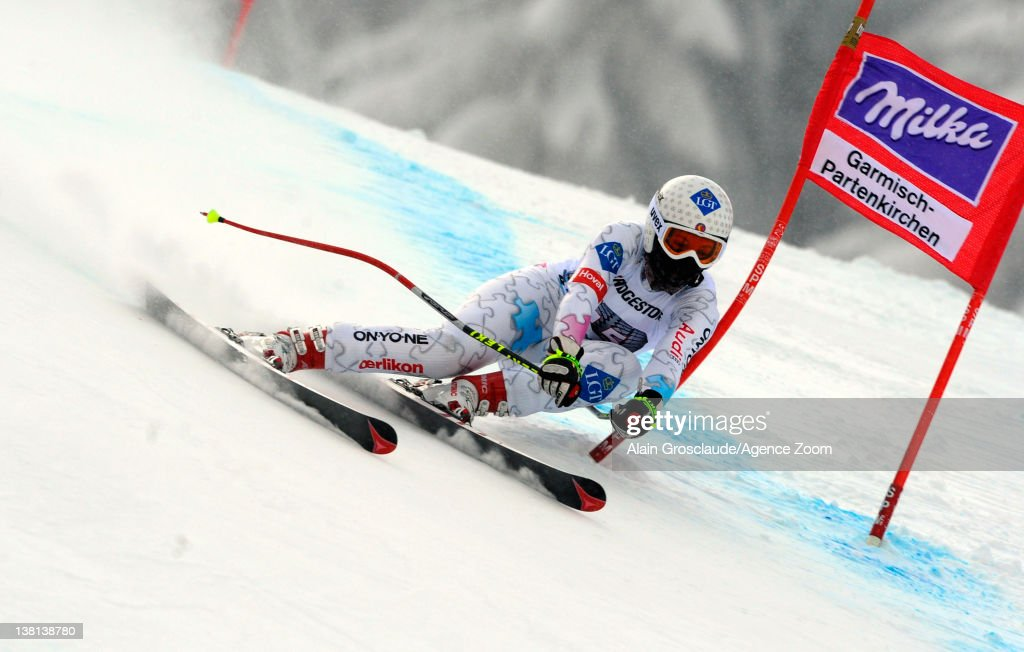 Tina Weirather of Liechtenstein competes during the Audi FIS Alpine Ski World Cup Women's Downhill Training on February 3 2012 in...