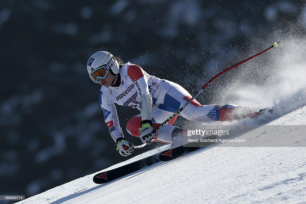 Tina Weirather of Liechtenstein competes during the Audi FIS Alpine Ski World Cup Women's SuperG on March 03, 2013 in Garmisch-Partenkirchen, Germany.
