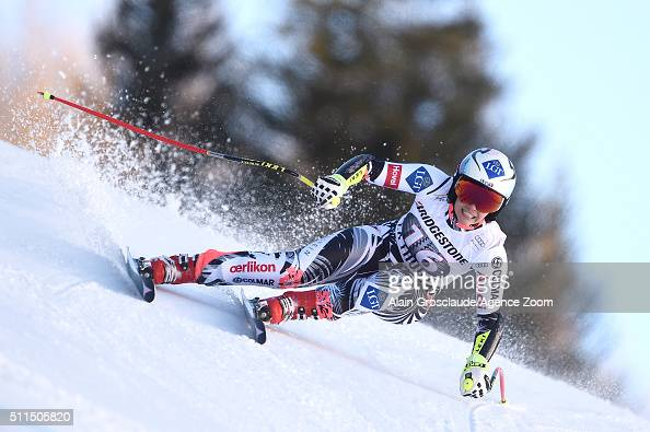 Tina Weirather of Liechtenstein competes during the Audi FIS Alpine Ski World Cup Women's SuperG on February 21 2016 in La Thuile Italy