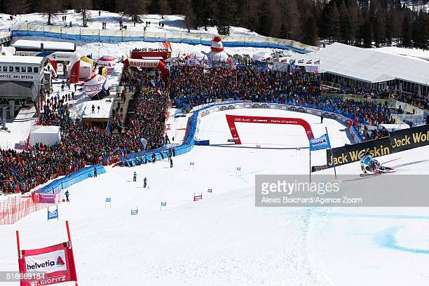 Tina Weirather of Liechtenstein competes during the Audi FIS Alpine Ski World Cup Finals Men's Slalom and Women's Giant Slalom on March 20 2016 in St...