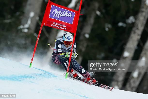 Tina Weirather of Liechtenstein competes during the Audi FIS Alpine Ski World Cup Women's SuperG on January 22 2017 in GarmischPartenkirchen Germany