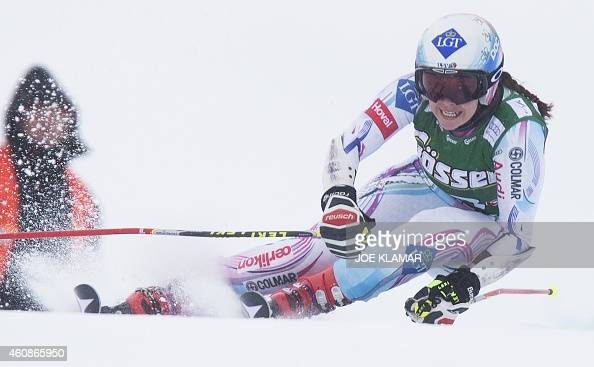 Tina Weirather of Liechtenstein competes during the first run of the Women's Giant Slalom competition of the FIS Ski World cup in Kuehtai Austria on...