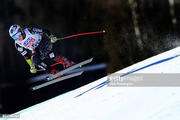 Tina Weirather of Liechtenstein competes in the ladies' SuperG during the Audi FIS Ski World Cup Finals at Aspen Mountain on March 16 2017 in Aspen...