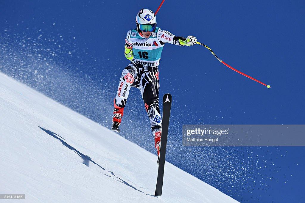 Tina Weirather of Liechtenstein in action during the Audi FIS Alpine Ski World Cup Finals Men's and Women's Super G on March 17, 2016 in St Moritz, Switzerland.