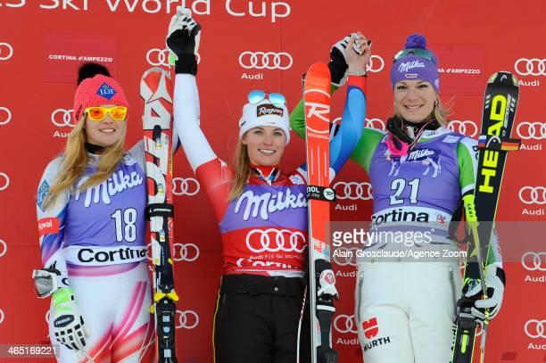 Tina Weirather of Liechtenstein Lara Gut of Switzerland and Maria HoeflRiesch of Germany pose on the podium during the Audi FIS Alpine Ski World Cup...