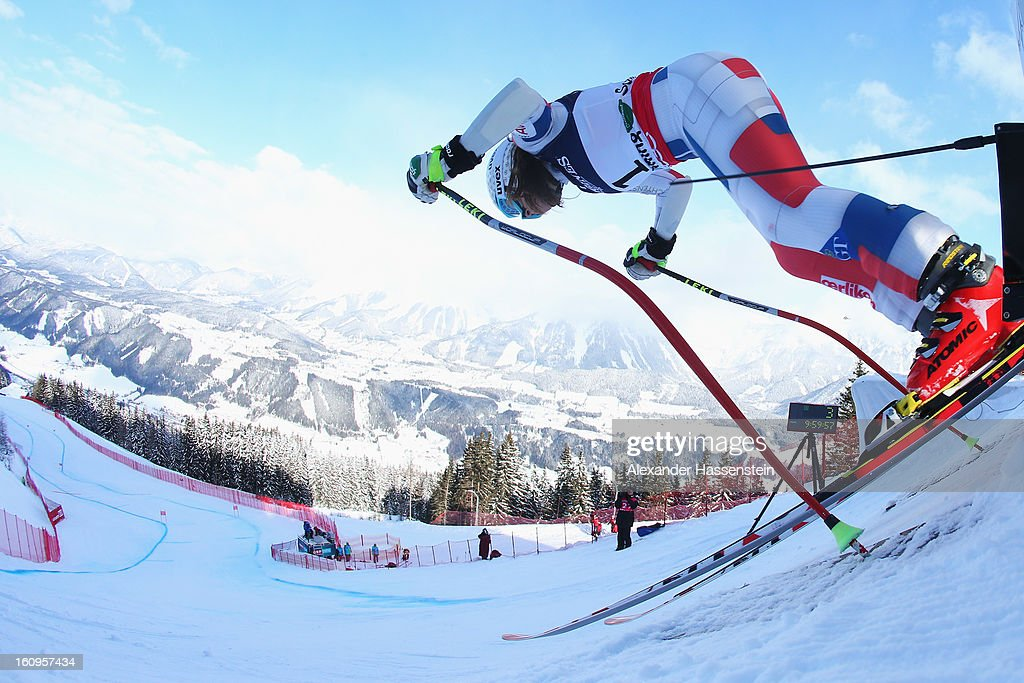 Tina Weirather of Liechtenstein leaves the start gate to ski in the Downhill section of the Women's Super Combined during the Alpine FIS Ski World Championships on February 8, 2013 in Schladming, Austria.
