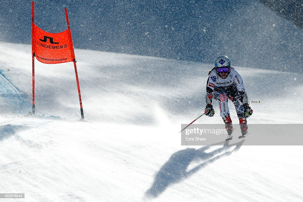 Tina Weirather of Liechtenstein practices during Ladies' Downhill Training on the Raptor course on Day 1 of the 2015 FIS Alpine World Ski...