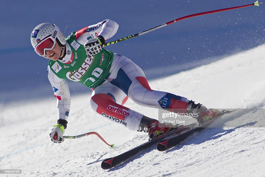 Tina Weirather of Liechtenstein races down the Kandahar course while competing in the Audi FIS Alpine Ski World Cup downhill race on January 12, 2013 in St Anton, Austria.