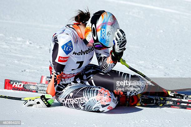 Tina Weirather of Liechtenstein reacts after crossing the finish of the Ladies' Downhill in Red Tail Stadium on Day 5 of the 2015 FIS Alpine World...