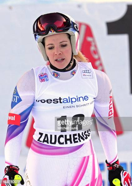 Tina Weirather of Liechtenstein reacts in the finish area after competing in the FIS Alpine World Cup downhill race on January 11 2014 in Zauchensee...