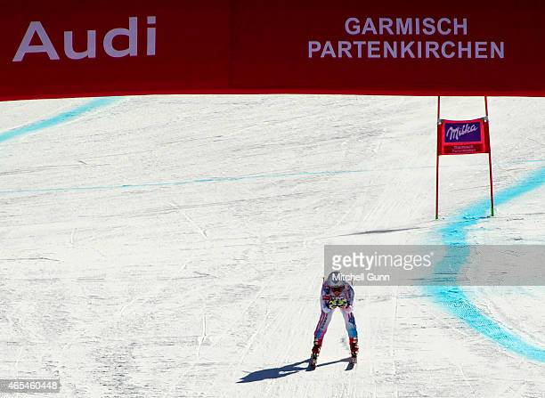 Tina Weirather of Liechtenstein reacts in the finish area after competing in the Audi FIS Alpine Ski World Cup downhill race on March 07 2015 in...