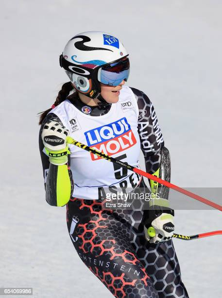 Tina Weirather of Liechtenstein reacts in the finish area after competing in the SuperG during the Audi FIS Ski World Cup Finals at Aspen Mountain on...