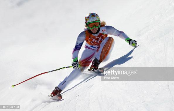Tina Weirather of Liechtenstein skis during training for the Alpine Skiing Women's Downhill ahead of the Sochi 2014 Winter Olympics at Rosa Khutor...