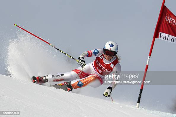 Tina Weirather of Liechtenstein takes 1st place during the Audi FIS Alpine Ski World Cup Women's Giant Slalom on December 22 2013 in Val d'Isere...