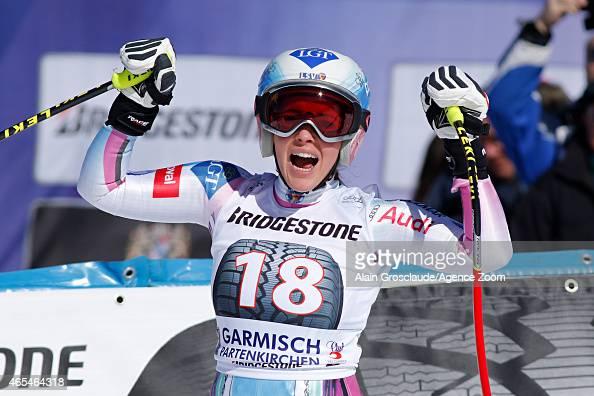 Tina Weirather of Liechtenstein takes 1st place during the Audi FIS Alpine Ski World Cup Women's Downhill on March 07 2015 in GarmischPartenkirchen...
