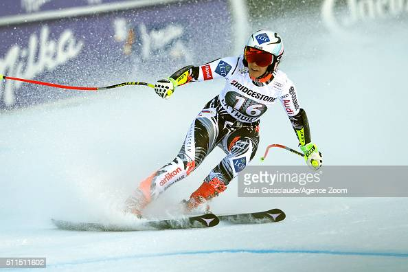 Tina Weirather of Liechtenstein takes 1st place during the Audi FIS Alpine Ski World Cup Women's SuperG on February 21 2016 in La Thuile Italy