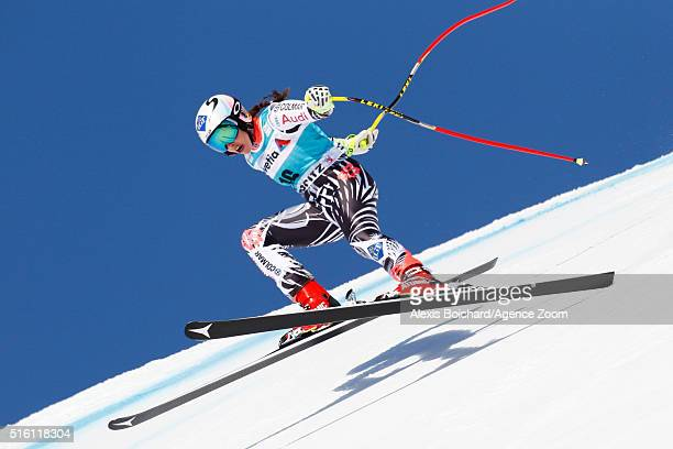 Tina Weirather of Liechtenstein takes 1st place during the Audi FIS Alpine Ski World Cup Finals Men's and Women's SuperG on March 17 2016 in St...