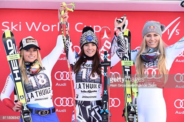 Tina Weirather of Liechtenstein takes 1st place Lara Gut of Switzerland takes 2nd place Lindsey Vonn of the USA takes 3rd place during the Audi FIS...