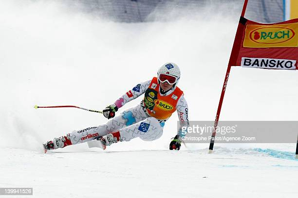 Tina Weirather of Liechtenstein takes 2nd place during the Audi FIS Alpine Ski World Cup Women's SuperG on February 26 2012 in Bansko Bulgaria