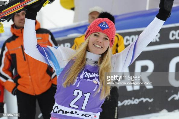 Tina Weirather of Liechtenstein takes 2nd place during the Audi FIS Alpine Ski World Cup Women's Downhill on January 24 2014 in Cortina d'Ampezzo...