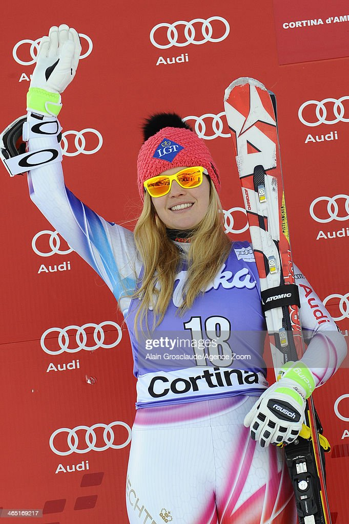 Tina Weirather of Liechtenstein takes 2nd place during the Audi FIS Alpine Ski World Cup Women's SuperG on January 26 2014 in Cortina d'Ampezzo Italy