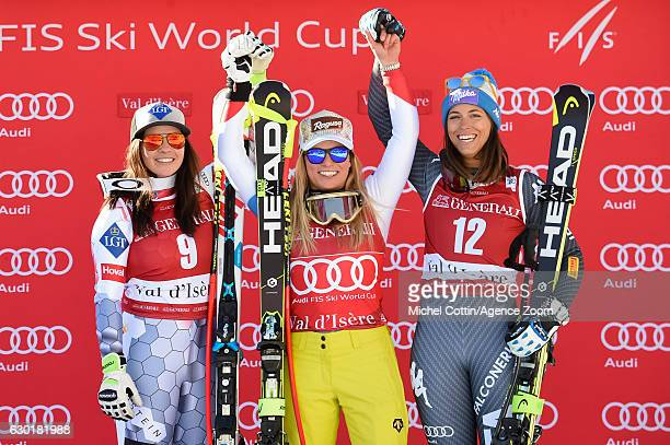 Tina Weirather of Liechtenstein takes 2nd place Lara Gut of Switzerland takes 1st place Elena Curtoni of Italy takes 3rd place during the Audi FIS...